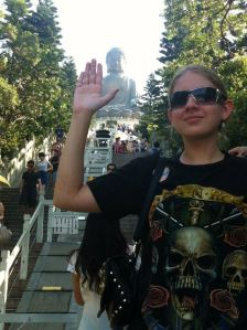 This is me standing at a the 'big Buddha' in Hong Kong. Loved this place!