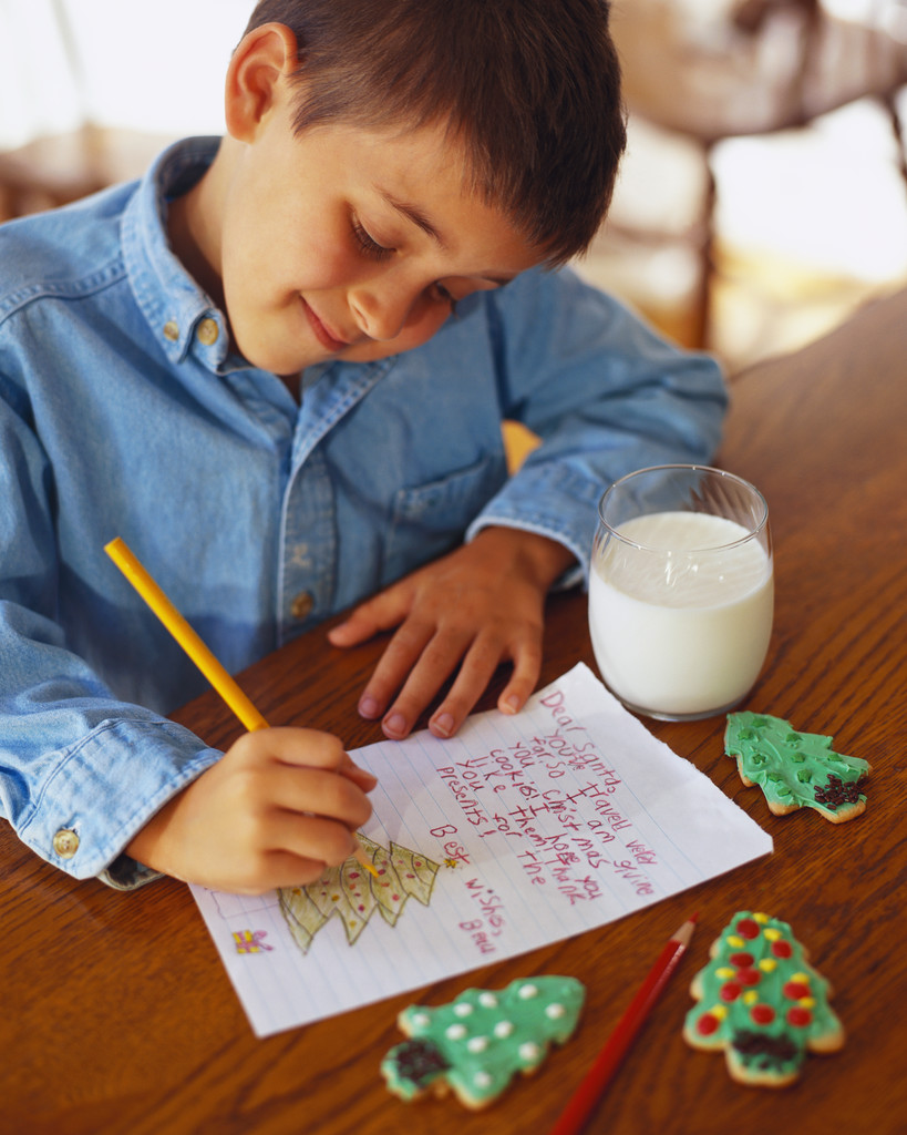 Boy Writing Letter to Santa
